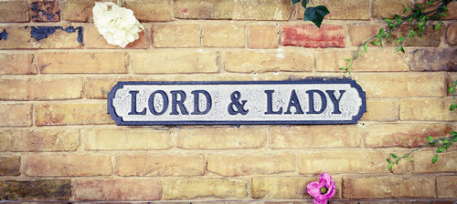 Lord & Lady Vintage Road Sign / Street Sign